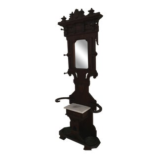 Mahogany Antique Hall Tree Stand Hat Rack For Sale