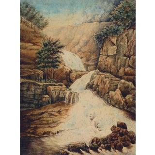 René Véron, Antique French Watercolor Landscape - Waterfall For Sale