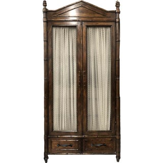Vintage Century Furniture Faux Bamboo Hollywood Regency Armoire For Sale
