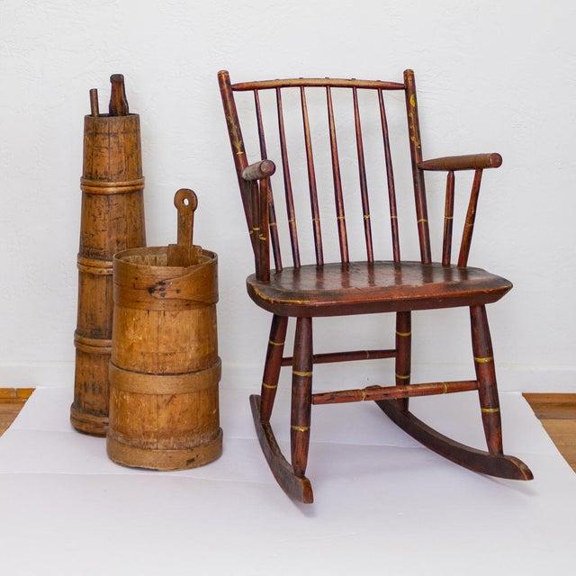 Grain Painted Spindle Back Rocking Chair | 19th Century Red Primitive Antique For Sale - Image 9 of 12