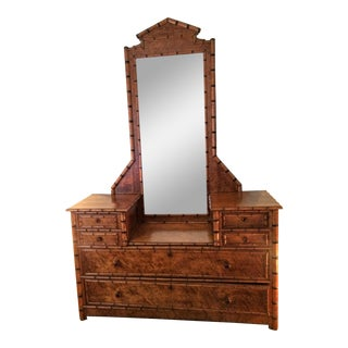 1930's French Faux Bamboo Drop Center Dresser & Mirror