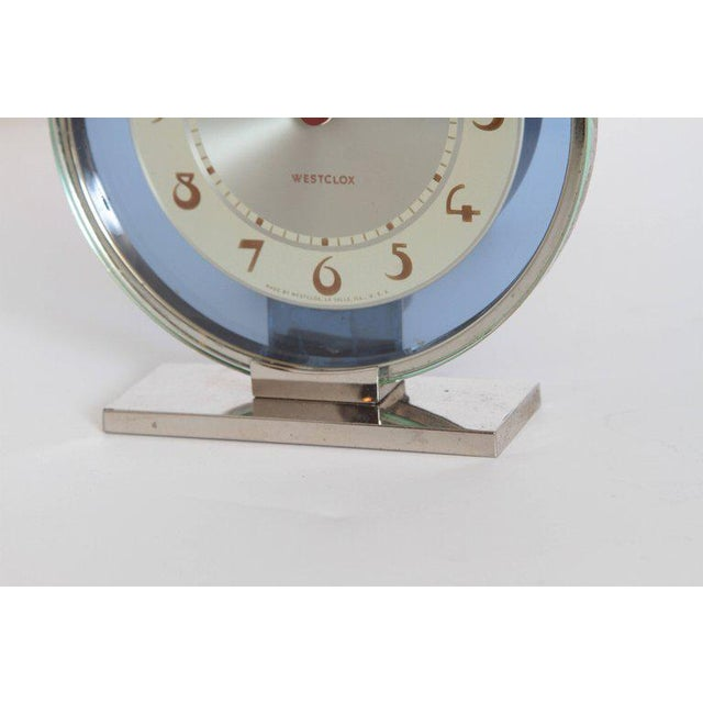 Westclox Machine Age Art Deco Westclox Desk Clock Chrome with Cobalt Glass For Sale - Image 4 of 11