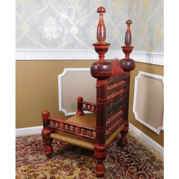 Antique Indian Sankheda Red Lacquered Armchair - Image 10 of 10