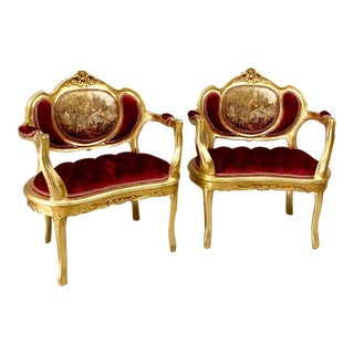 French Louis XVI Style Red Velvet Chairs - a Pair For Sale