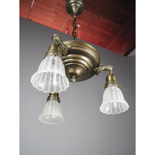 Original Pan Light Fixture (3-Light) For Sale - Image 5 of 8