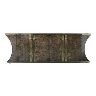 Burl and Vintage Brass Mastercraft Credenza or Sideboard For Sale