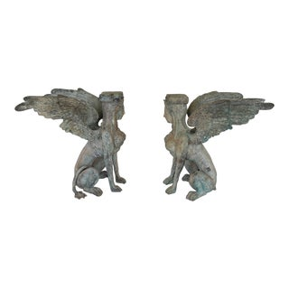 Bronze Winged Giffens Table Bases - a Pair For Sale