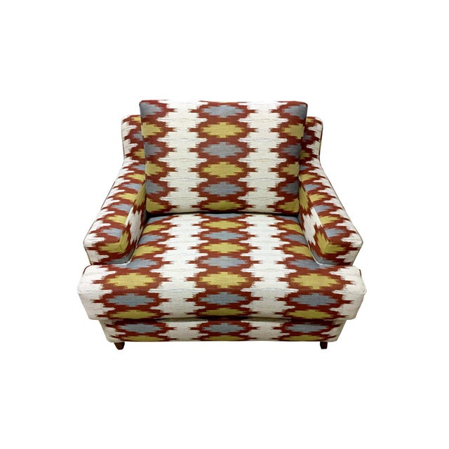 Custom 1 & 1/2 armchair done in Justina Blakeney Geo Jacquard Fabric. This chair is newly upholstered and re-stuffed....