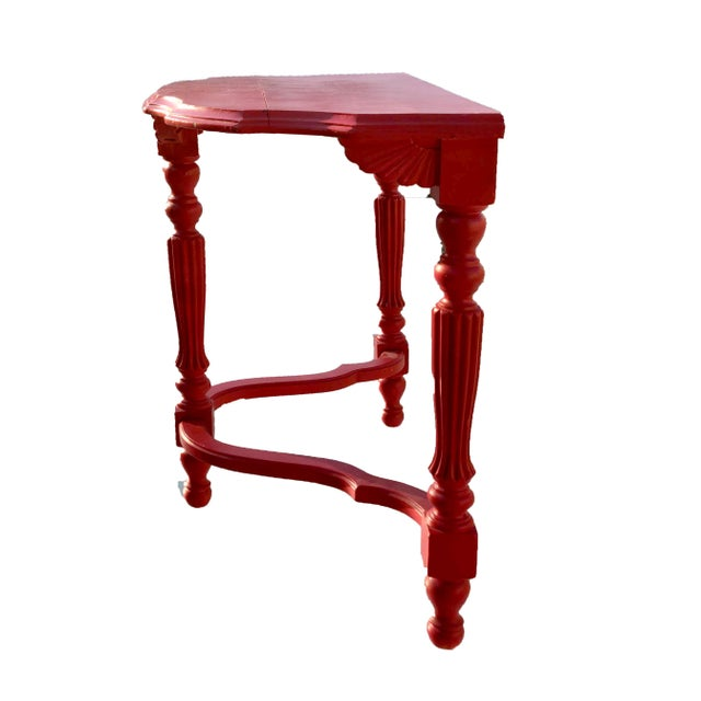 Cottage 19th Century French County Fire-Engine Red Painted Demi-Lune Table For Sale - Image 3 of 6