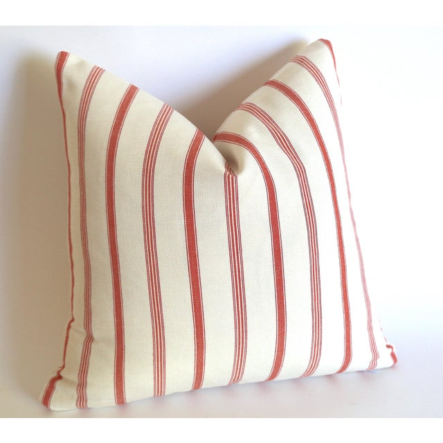 French French Ticking Stripe Coral & Ivory Pillow Cover: 16x16 For Sale - Image 3 of 4