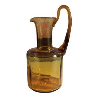1950s Mid-Century Modern Blenko Optic Pitcher in Honey For Sale