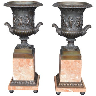 French Bronze and Marble Vases For Sale