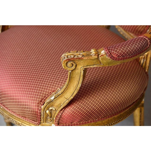 Pair of French Louis XVI Style Gilded Fauteuils For Sale - Image 10 of 10