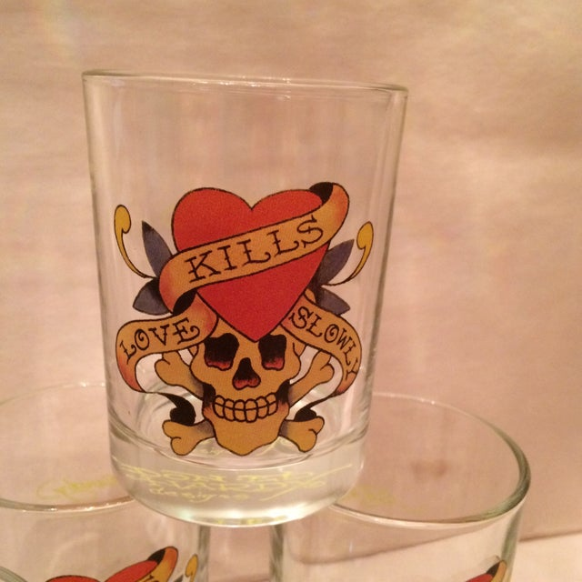 """Ed Hardy """"Love Kills Slowly"""" Lo-Ball Glasses - Set of 4 For Sale - Image 10 of 11"""