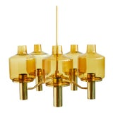 Image of Brass and Glass Chandelier by Hans-Agne Jakobsson For Sale
