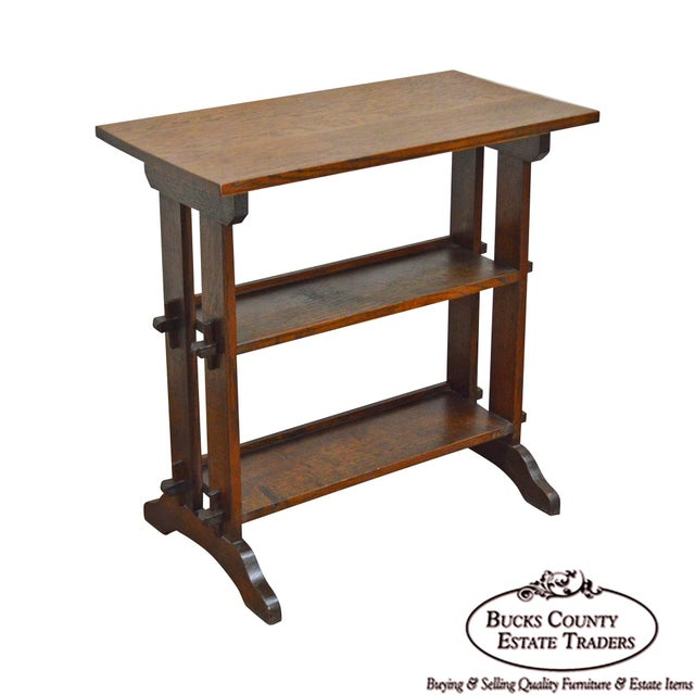 """Roycroft """"The Roycrofters"""" Arts & Crafts Mission Oak Little Journeys Book Stand For Sale - Image 13 of 13"""