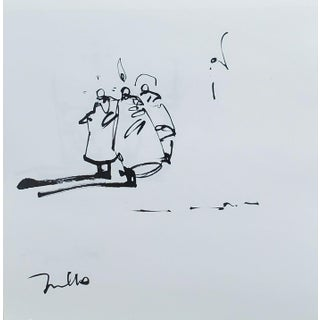 Contemporary Minimalist Figurative Ink Drawing from the Saint Series by Jose Trujillo For Sale