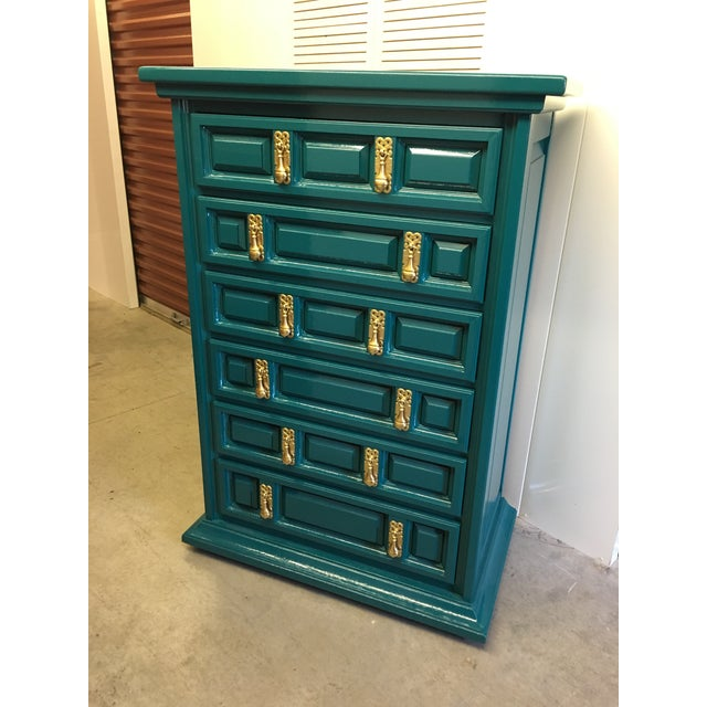 Wood 1970s Mid-Century Modern United Furniture Jade Green Lacquered High Boy Dresser For Sale - Image 7 of 9