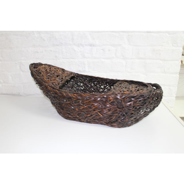 Brown Early 20th Century Antique Japanese Ikebana Bamboo Basket For Sale - Image 8 of 8