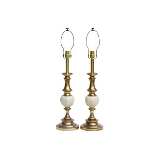 Traditional Brass & Ceramic Table Lamps by Stiffel, a Pair For Sale