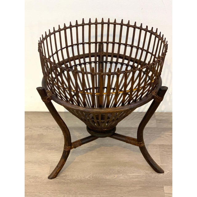 """Franco Albini style fish trap rattan and glass side table, restored With removable 19.75 """" diameter glass top."""