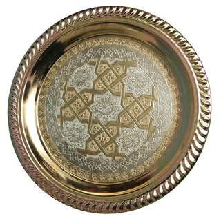Moroccan Tray With Brass & Silver Engravings For Sale