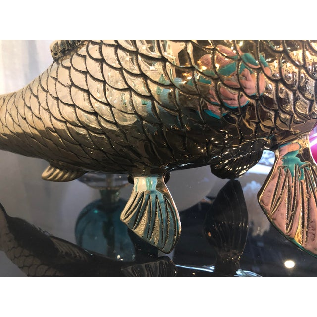 Vintage Polished Brass Koi Fish Statue For Sale In West Palm - Image 6 of 11
