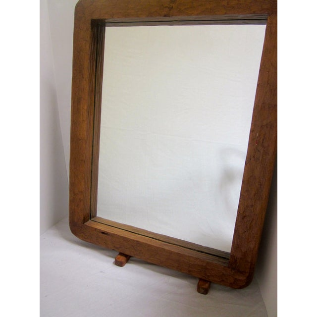 Rustic Carved Wooden Mirror - Image 3 of 10