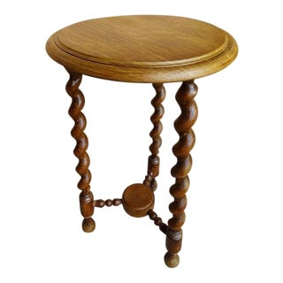 Antique French Barley Twist Small Oak Side Table Pedestal