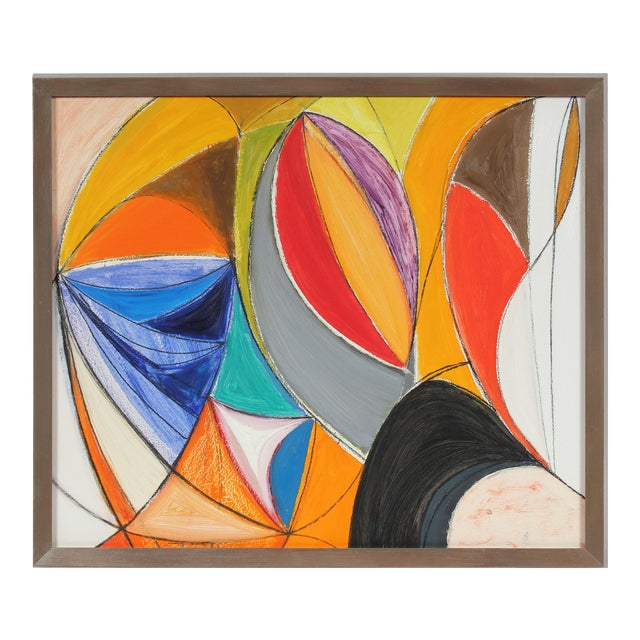 Bright Abstract Oil Painting, Mid 20th Century For Sale