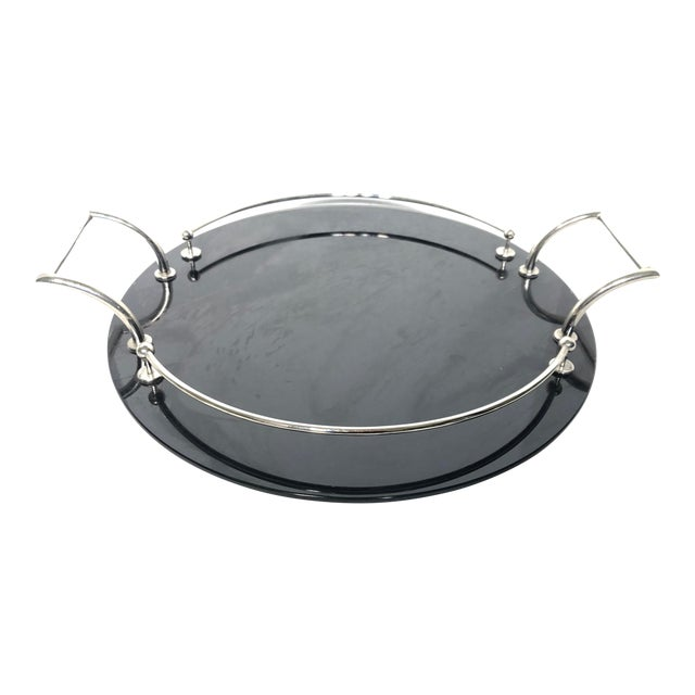 20th Century Art Deco Yeoman Black Onyx Glass and Silver Plated Serving Tray For Sale