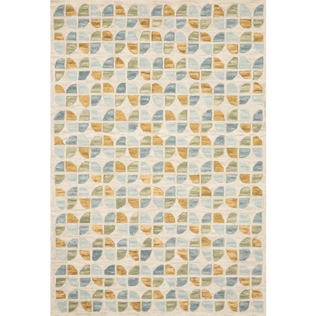 "Contemporary Justina Blakeney X Loloi Rugs Hallu Rug, Ivory / Sky - 1'6""x1'6"" For Sale - Image 3 of 3"
