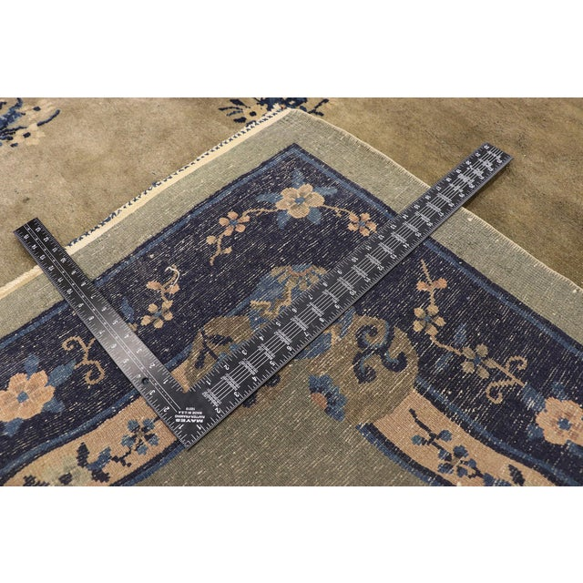 Early 20th Century Early 20th Century Antique Chinese Peking Rug With Pagoda Design 08'03 X 09'07 For Sale - Image 5 of 10