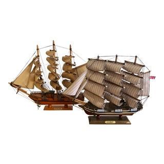 Vintage Wooden Sailboat Models- A Pair For Sale