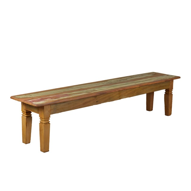 The charm of our dining bench Double Chinese Feet comes from reclaimed peroba wood construction highlighted with a...