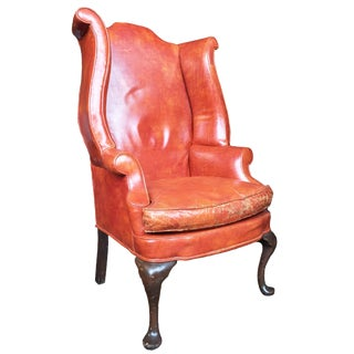 1930s Queen Anne-Style English Leather Wingback Chair For Sale
