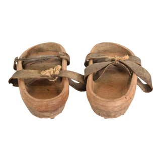Antique Japanese Decorative Wood Gardening Shoes - a Pair For Sale