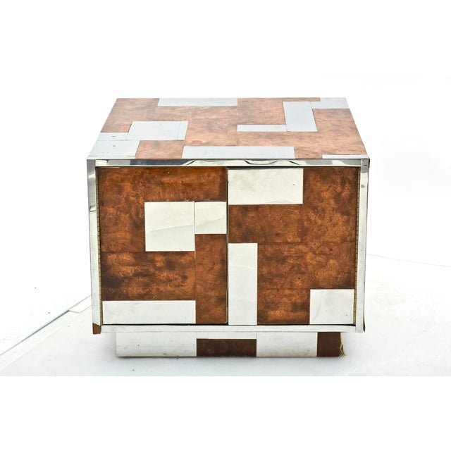1960s American Modern Burl Walnut and Chrome Two-Door Cabinet, Paul Evans For Sale - Image 5 of 9