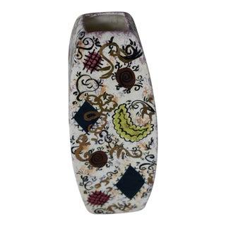 Mid-Century Modern Hand Painted Multi-color Ceramic Vase