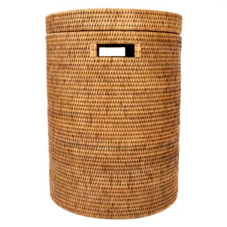 Artifacts Rattan Round Hamper with Cotton Liner For Sale
