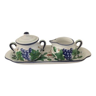 Italian Ceramic Sugar & Creamer Set - A Pair