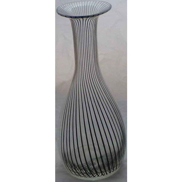 Murano Glass Black White Striped Vase By Venini Chairish