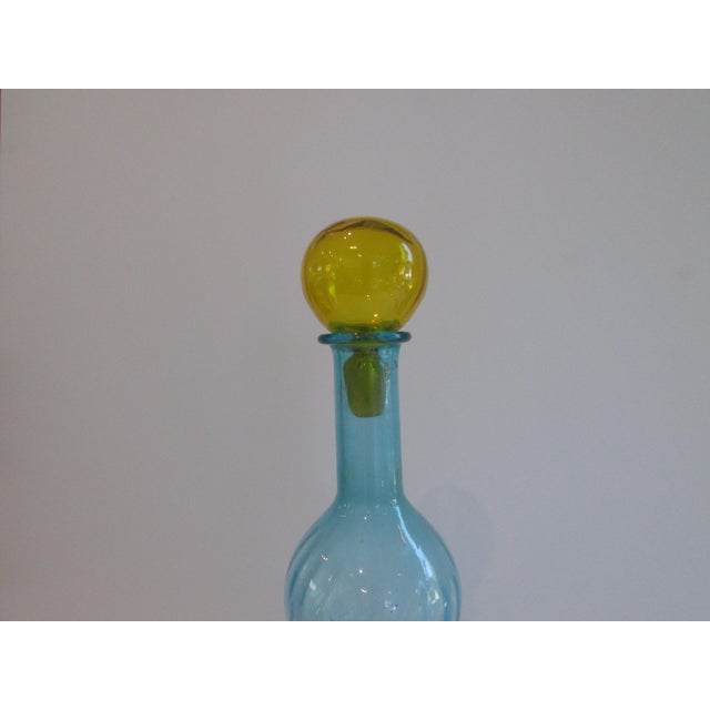 Vintage Italian Blue & Yellow Glass Bottle For Sale - Image 4 of 4