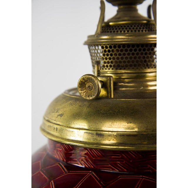 Metal 19th C. Victorian Style Bradley & Hubbard Converted Oil Lamp For Sale - Image 7 of 12