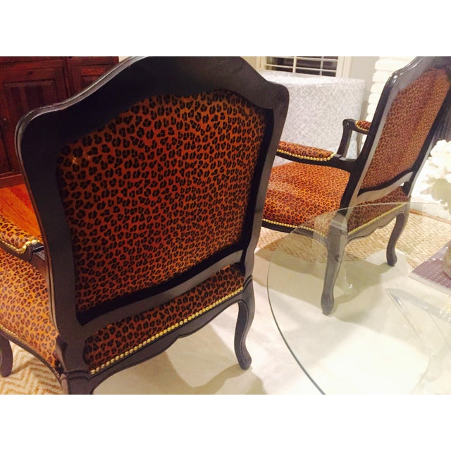 "French Black Lacquered ""Leopard"" Armchairs - Pair - Image 8 of 9"