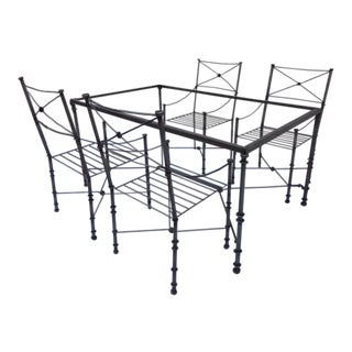 Neoclassical Iron Table & Chairs For Sale