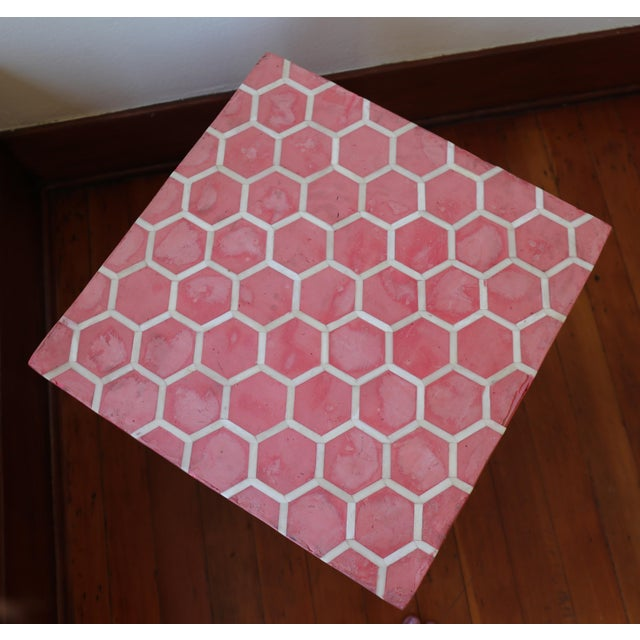 Red Antique Pink Clay Bone Inlay Honeycomb Side Table For Sale - Image 8 of 9