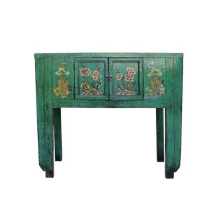 Chinese Oriental Distressed Teal Green Flowers Foyer Table