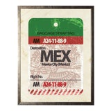 Image of Mexico City Travel Ticket in Pewter Shadowbox - 23.5ʺ × 29.5ʺ For Sale