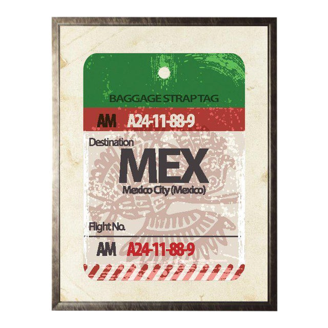 Mexico City Travel Ticket in Pewter Shadowbox - 23.5ʺ × 29.5ʺ For Sale